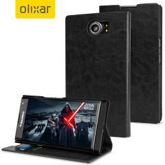A sophisticated lightweight black leather-style case with a magnetic fastener for ease of use. The Olixar leather-style wallet case offers perfect protection for your BlackBerry Priv and also includes a built-in stand.