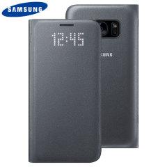 Original Samsung Galaxy S7 LED Flip Wallet Cover Tasche in Schwarz