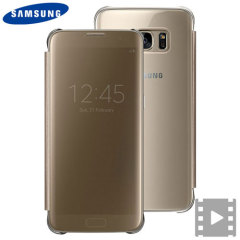 Original Samsung Galaxy S7 Edge Clear View Cover Tasche in Gold
