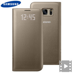 Funda Samsung Galaxy S7 Edge Oficial LED Flip Wallet - Oro