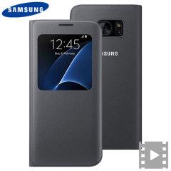 Original Samsung Galaxy S7 Edge Tasche mit integriertem Sichtfeld auf dem Display.