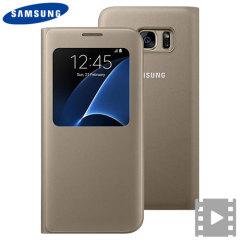 Custodia S-View originale Samsung per Galaxy S7 Edge - Oro
