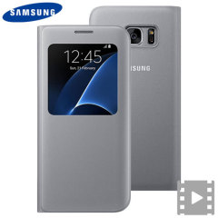 Original Samsung Galaxy S7 Edge Tasche S View Cover in Silber