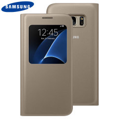 Original Samsung Galaxy S7 Tasche S View Premium Cover in Gold