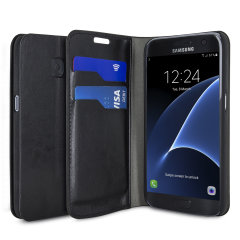 Protect your Samsung Galaxy S7 with this durable and stylish black leather-style wallet case by Olixar. What's more, this case transforms into a handy stand to view media.