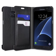 The Olixar leather-style Samsung Galaxy S7 Edge  Wallet Case in black provides enclosed protection and can also be used to hold your credit cards. The case also transforms into a viewing stand for added convenience.