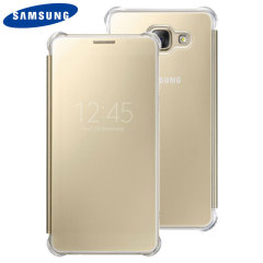 This Official Samsung Clear View Cover in gold is the perfect way to keep your Galaxy A5 2016 smartphone protected whilst keeping yourself updated with your notifications thanks to the clear view front cover.