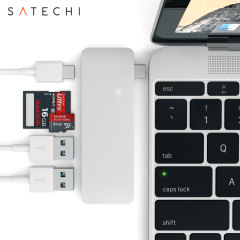 Using the USB-C (USB Type-C) port on your MacBook 12 inch, add 2 full-sized USB ports, an SD card slot and a micro SD card slot to your computer using this Satechi hub in silver. Plug in USB devices such as a keyboard, mouse or printer to your MacBook.