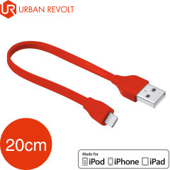 Urban Revolt Flat Non-tangle MFi Lightning Cable 20cm - Red
