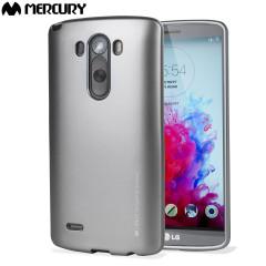 Coque LG G3 Mercury Goospery iJelly Gel - Argent Métallique