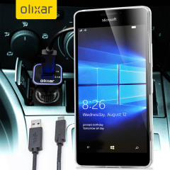 Keep your Microsoft Lumia 950 XL fully charged on the road with this compatible Olixar high power dual USB 3.1A Car Charger with an included high quality USB to USB-C charging cable.