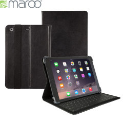 Maroo Leather iPad Air AZERTY Bluetooth Keyboard Cover - Black