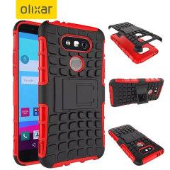 Bescherm je LG G5 met deze rode ArmourDillo Case, die bestaat uit een binnenste TPU case en een impact resistent exoskelet aan de buitenkant.