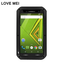 Protect your Motorola Moto X Play with one of the toughest and most protective cases on the market, ideal for helping to prevent possible damage from water and dust - this is the black Love Mei Powerful Protective Case.