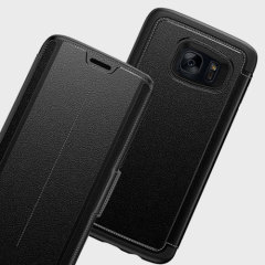 A sophisticated lightweight black genuine leather case, the OtterBox genuine leather wallet cover offers perfect protection for your Galaxy S7 Edge, as well as featuring slots for your cards, cash and documents.