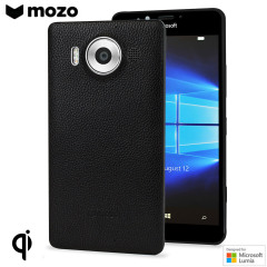 Mozo Microsoft Lumia 950 Genuine Leather Back Cover - Zwarte Rand