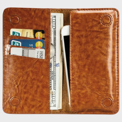 Jison Case Genuine Leather Universal Smartphone Wallet Case - Brown