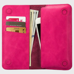 Jison Case Genuine Leather Universal Smartphone Wallet Case - Pink