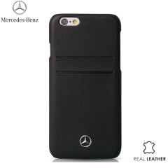 Mercedes-Benz iPhone 6S Plus / 6 Plus Real Leather Card Skal - Svart