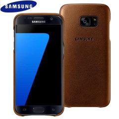 Original Samsung Galaxy S7 Leder Cover Hülle in Braun