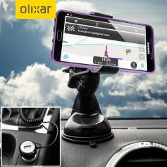Artículos esenciales que necesitará para su smartphone durante un viaje en coche. Este pack de coche Olixar DriveTime incluye un soporte de coche y un cargador para su Samsung Galaxy A9 2016.