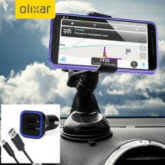 Artículos esenciales que necesitará para su smartphone durante un viaje en coche. Este pack de coche Olixar DriveTime incluye un soporte de coche y un cargador para su Nexus 5X.
