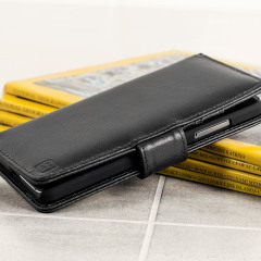 A sophisticated lightweight black genuine leather case with a magnetic fastener. The Olixar genuine leather wallet case offers perfect protection for your Microsoft Lumia 650, as well as featuring slots for your cards, cash and documents.