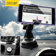 Das Pack enthält wesentliche Elemente, die Sie für Ihr Handy während einer Autofahrt benötigen. Ausgestattet mit einem robusten Autohalterung und einem Autoladegerät mit zusätzlichen USB-Port für Ihr Sony Xperia Z5.