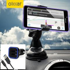 Artículos esenciales que necesitará para su smartphone durante un viaje en coche. Este pack de coche Olixar DriveTime incluye un soporte de coche y un cargador para su Lumia 950 XL.