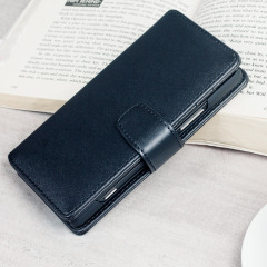 A sophisticated lightweight black genuine leather case with a magnetic fastener. The Olixar genuine leather wallet case offers perfect protection for your Lumia 950, as well as featuring slots for your cards, cash and documents.