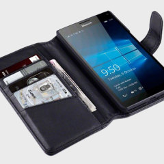 A sophisticated lightweight black genuine leather case with a magnetic fastener. The Olixar genuine leather wallet case offers perfect protection for your Lumia 950 XL, as well as featuring slots for your cards, cash and documents.