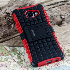Protect your Samsung Galaxy A3 2016 from bumps and scrapes with this red Olixar ArmourDillo case. Comprised of an inner TPU case and an outer impact-resistant exoskeleton, the ArmourDillo provides robust protection and supreme styling.
