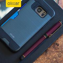 Olixar Brushed Metal Card Slot Samsung Galaxy S7 Skal - Mörkblå