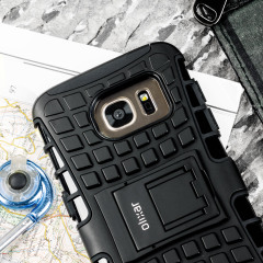 Protect your Samsung Galaxy S7 from bumps and scrapes with this black ArmourDillo case from Olixar. Comprised of an inner TPU case and an outer impact-resistant exoskeleton, with a built-in viewing stand.