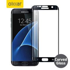 Håll din Samsung Galaxy S7 Edge skärm i fantastiskt skick med det här Olixar skrämskyddet av Tempererat glas, som täcker och skyddar även de krökta ytterkanter hos telefonens unika display. Svarta kanter matchar den svarta telefonen perfekt.