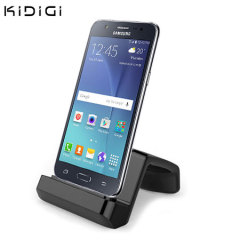 Synchronise and charge your Samsung Galaxy J5 2015 with this stylish and case compatible desktop dock which also acts as a multimedia stand from Kidigi.