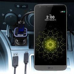 Gardez votre LG G5 chargé au maximum lors de vos déplacements grâce à ce Chargeur Voiture High Power 2 ports USB d'une puissance de 3.1A de chez Olixar. Câble USB-C de chargement de grande qualité inclus.