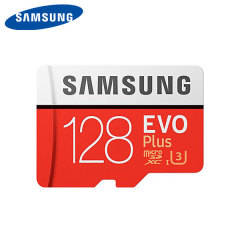 Full HD compliant Class 10 performance Micro SD Card. The 128GB Samsung Micro SDXC EVO Plus card safely and effectively stores all of your precious data, images, video and more.