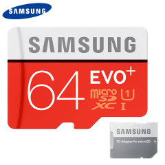 Full HD compliant Class 10 performance Micro SD Card. The 64GB Samsung Micro SDXC EVO Plus card safely and effectively stores all of your precious data, images, video and more. Comes complete with an SD card adapter.