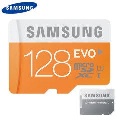 Full HD compliant Class 10 performance Micro SD Card. The 128GB Samsung Micro SDXC Evo Memory card safely and effectively stores all of your precious video and images. Also includes an SD adapter for use with even more devices.