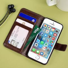 Olixar iPhone SE Tasche Wallet Case in Braun