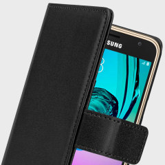 The Olixar Wallet Case in black sticks to the back of your Samsung Galaxy J3 2016 to provide enclosed protection and can also be used to hold your credit cards.