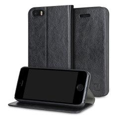 Beskytt din iPhone SE samtidig som du holder dine kort og penger sikre med lommeboks dekslet Olixar i lærstilformat.