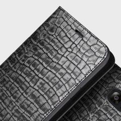 VRS Design Croco Samsung Galaxy S7 Edge Diary Case - Silver / Grey