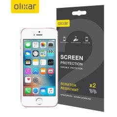 Hold din iPhone SE skjerm i perfekt stand med denne Olixar ripebestandige skjermbeskytter 2-i-1 pakken.
