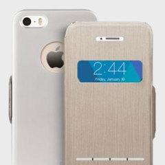 Moshi Sense Cover für das iPhone SE gebürstetes Titan