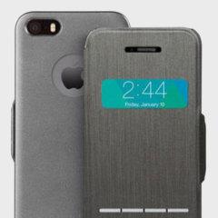 La funda Moshi SenseCover para el iPhone SE permite visualizar el tiempo y contestar llamadas sin necesidad de abrir la tapa delantera.