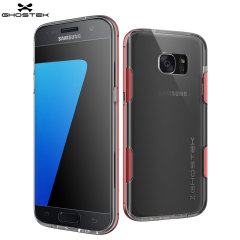 Ghostek Cloak Samsung Galaxy S7 Edge Tough Case Hülle in Klar / Rot