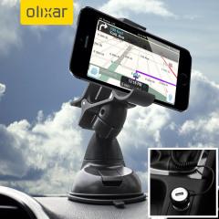 Artículos esenciales que necesitará para su smartphone durante un viaje en coche. Este pack de coche Olixar DriveTime incluye un soporte de coche y un cargador para su iPhone SE.