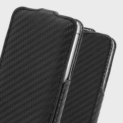 Slimline Carbon Fibre Style iPhone SE Flip Case - Black